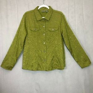 Chicos sz 3 Pistacio Lime Green Jacket button up